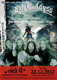 Flyer - Black Abyss + Necrotted + Misanthropia + Alsion + Inferno