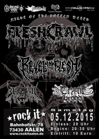 Flyer - Fleshcrawl + Revel In Flesh + Blackevil + Cryptic Brood